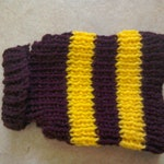 Hand Knit Dog Sweater- Maroon Yellow