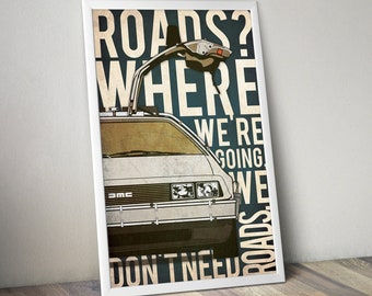 Back To The Future Poster Back To The Future Print Movie Poster 80s Movie Poster Back To The Future Artwork 80s Car Poster Christmas Gift