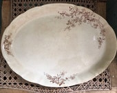 Antique Brown Transferware Platter Oval Scalloped 13 1 2 quot
