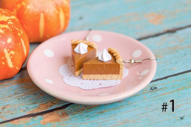 Pumpkin Pie Earrings with Whopped cream Pumpkin Cake Earrings image 0