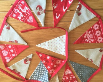 CHRISTMAS BUNTING Free UK Shipping re Scandi-Style 15 Flag Lined Cotton & Linen 7ft. long WashableFlags with Reindeer for Fireplace or Wall