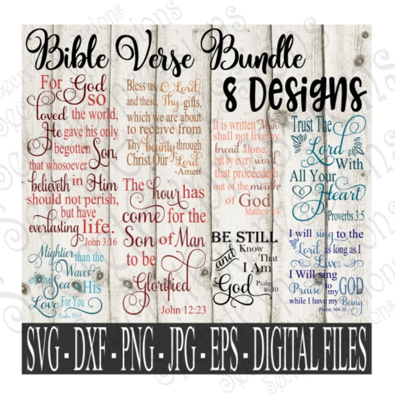 Digital Cutting Files SVG Silhouette Print File Bible Verse svg Bundle DXF JPeg SVG Cricut