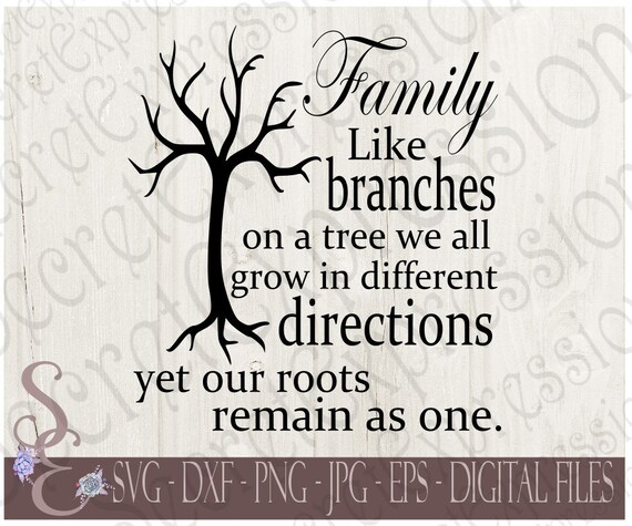 Family Like Branches On A Tree Svg Roots Digital File Eps Etsy