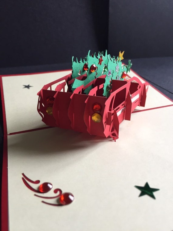 Merry ChristmasSeasons GreetingsHappy Holidays3D Pop Up Christmas Trees On Your Car Handmade Card