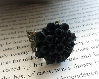 Midnight Vintage Inspired Chrysanthemum Ring