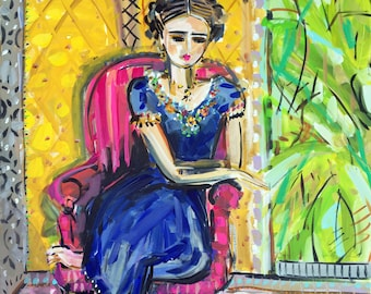 Frida Print woman art impressionist modern abstract girl paper or canvas