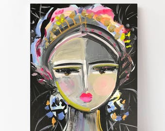 Portrait Print woman art impressionist modern abstract girl canvas or paper