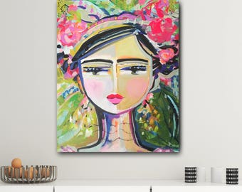 Warrior Girl Print woman art impressionist modern abstract girl paper or canvas Hazel 2