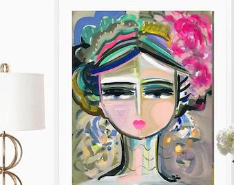 Warrior Girl PRINT Portrait paper or canvas colorful art large wall art Jessa