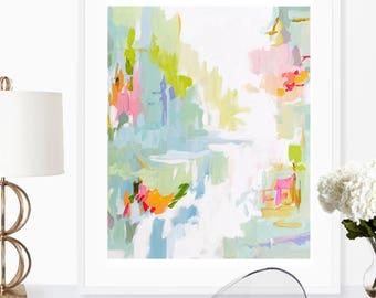 Modern Art Print , Abstract Print, 8x10, 11x14, 16x20, 24x30, 30x40, pink, lime, aqua, marendevineart