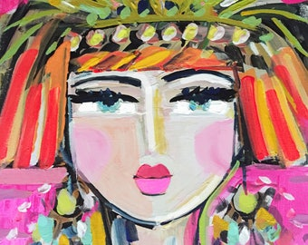 Abstract Portrait Print, Warrior Girl, Flapper Girl