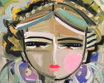 Warrior Girl PRINT woman portrait, abstract faces, Maren Devine, paper or canvas