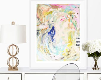 Modern Art Print , Abstract Print, pink, lime, aqua, marendevineart, The Springs