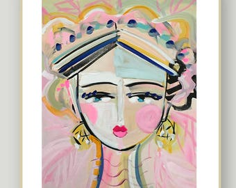 Warrior Girl Print woman art impressionist modern abstract girl paper or canvas Ellie