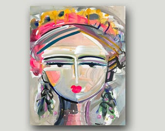"Portrait PRINT  woman art impressionist modern abstract girl  Paper or Canvas "" Mae"""