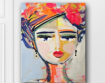 Abstract Portrait PRINT, medium, woman portrait, Abstract Girl, orig. on canvas