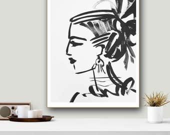 Girl Profile Print woman art impressionist modern abstract girl paper or canvas