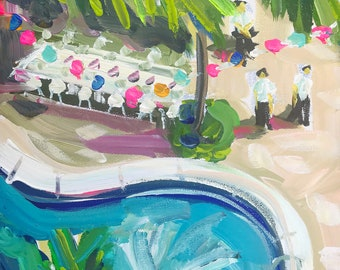 "Original Pool Painting on Canvas, ""Missing Mexico 2"""