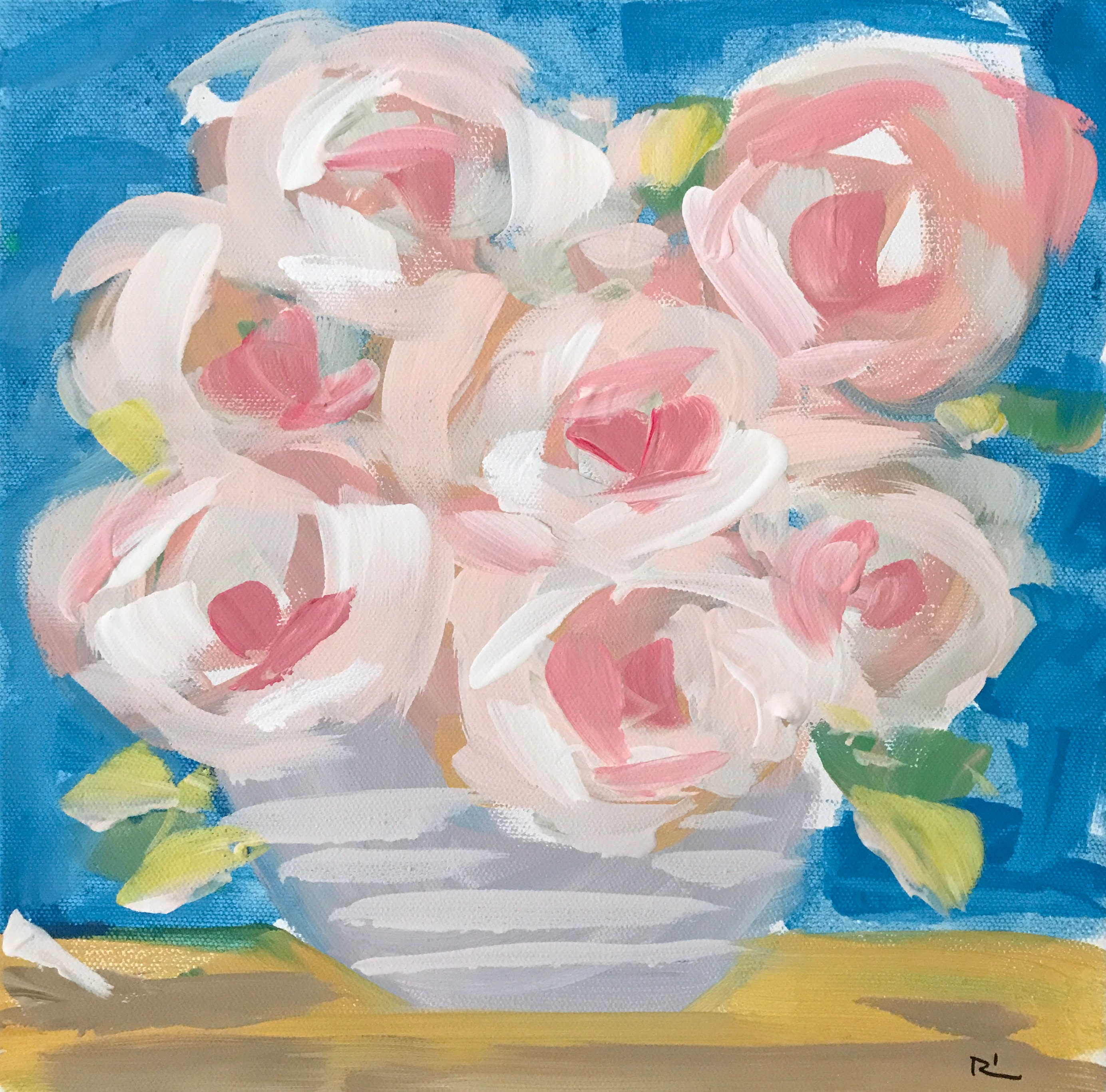 Original Abstract Flower Painting On Canvas Soft Pink Etsy