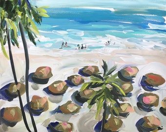 "Original Beach Painting on Canvas, ""Wave Jumpers"" 16x20 high profile canvas"