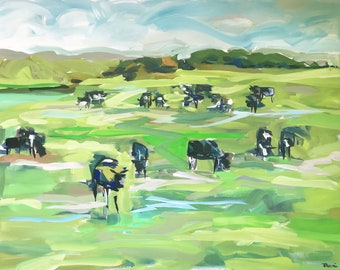 "Original Cows painting on canvas, Large painting, 36"" x 48"" high profile canvas"