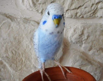 Needle felted budgie, felted cockatiel, felted bird, felted parrot, felted bird gifts, parakeet,pale blue budgie,handmade budgie