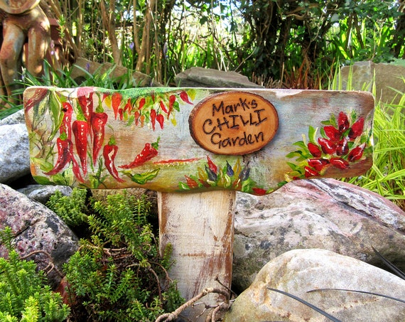 Allotment Signs, Original Painting, Vegetable Garden Allotment Sign,  Chilli Peppers * Hand painted  Custom made  Stake Sign