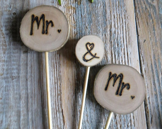Wedding Cake Topper * Mr&Mr cake topper * Same sex cake toppers   * Tree Carving * Rustic Wood Slices *