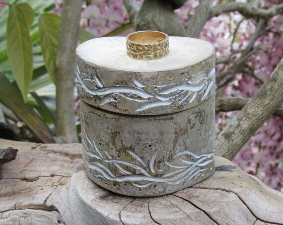 Wedding Ring Box * Wooden ring box * Engagement Ring Box * Rustic Ring Box  * Tree carving * Vine Design *  Handmade in Wales