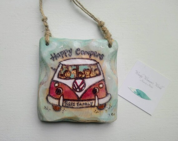 Personalised Sign * Driftwood Style * Campervan Sign * Illustrated Sign * Handmade in Wales