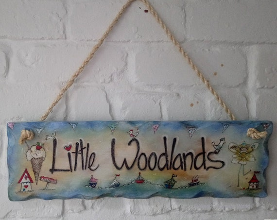 Childrens Sign * Personalised wooden Sign - Beach Hut Sign - Family Sign