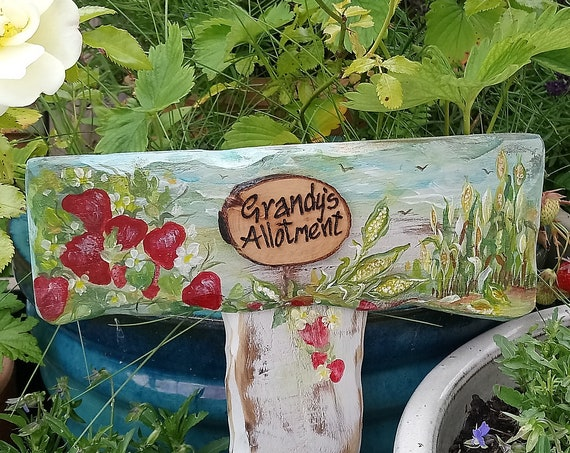 Grandad Sign * Garden Gifts * WoodyWomansWorld Personalised  PLOT Number Garden Allotment Sign * Hand painted  Custom made  Stake Sign