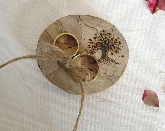 Ring Box * Engagement ring box * Wedding ring box * Ring bearer box * Wooden ring pillow  * Rustic ring pillow*  Handmade in Wales