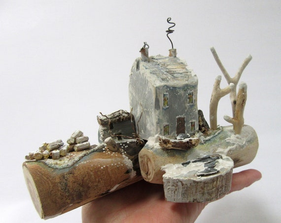 Driftwood * Wooden Cottage * Christmas Ornament * Driftwood art * Wooden Ornament * wooden model * Cottages * Handmade in Wales