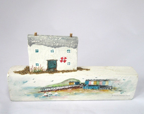 Wooden Tenby Sculpture * Mixed Media Art Piece * Made in Wales