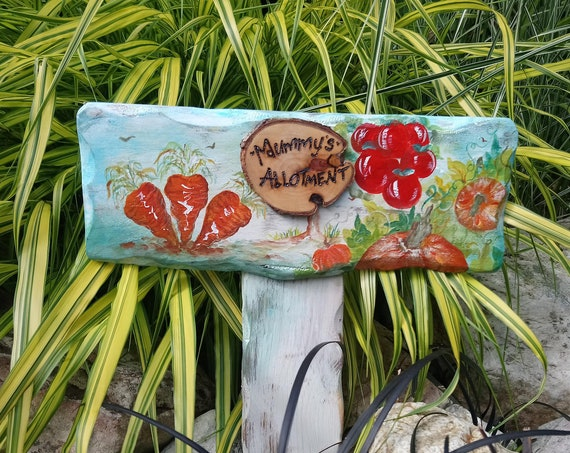 Mummy Sign * Garden Gifts * WoodyWomansWorld Personalised  PLOT Number Garden Allotment Sign * Hand painted  Custom made  Stake Sign