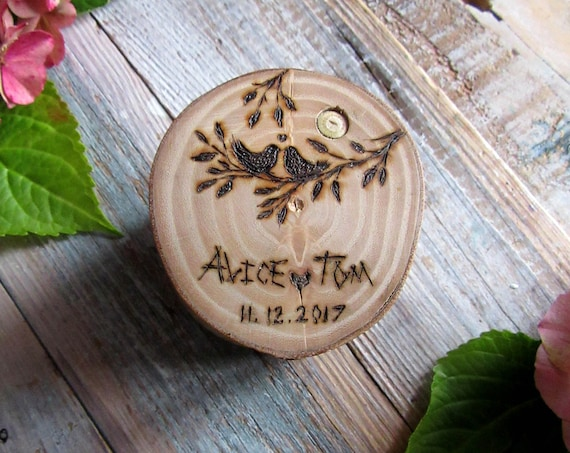 Wooden Ring Box * Engagement ring box * Wedding ring box * Ring bearer box   * Rustic ring box *  Handmade in Wales