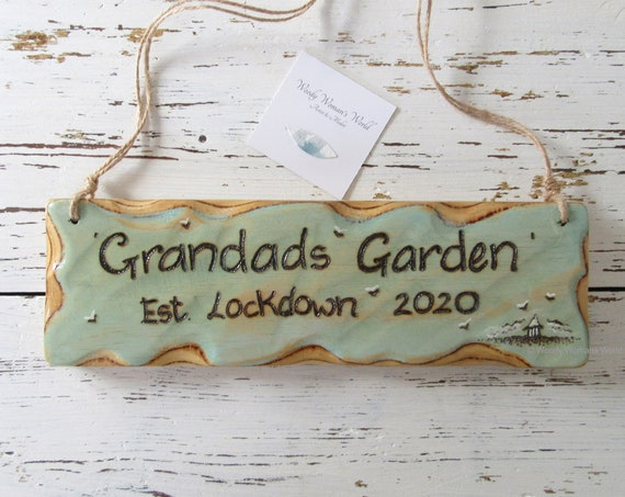 Personalised Sign * Garden Sign * Driftwood Style * Illustrated Sign *