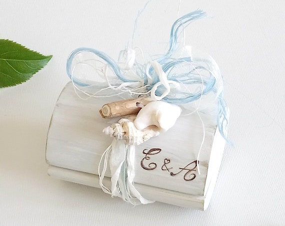 Wedding Ring box * Design as in Brides Magazine  * Wooden ring box * Engagement Ring box * Driftwood * Shell ring box * Hand  Made in Wales