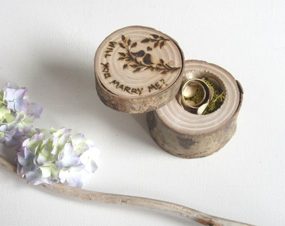 Wooden Ring Box * Engagement ring box * Ring bearer box   * Marry Me *  Rustic ring box *  Handmade in Wales
