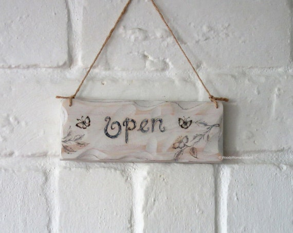 Wooden Sign * Open Closed Shop Sign * Wooden shop sign * Pyrography Sign * Made in Wales