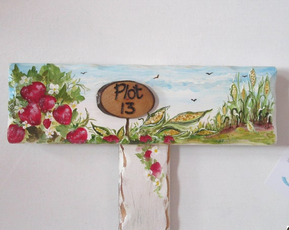 Wooden Sign * Garden Gifts * WoodyWomansWorld Personalised  PLOT Number Garden Allotment Sign * Hand painted  Custom made  Stake Sign