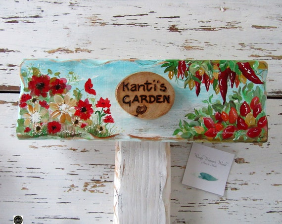Wooden Sign * Allotment Garden Sign * Personalised  Sign *  Peppers * Flower Sign * Origninal handpainting * Wales