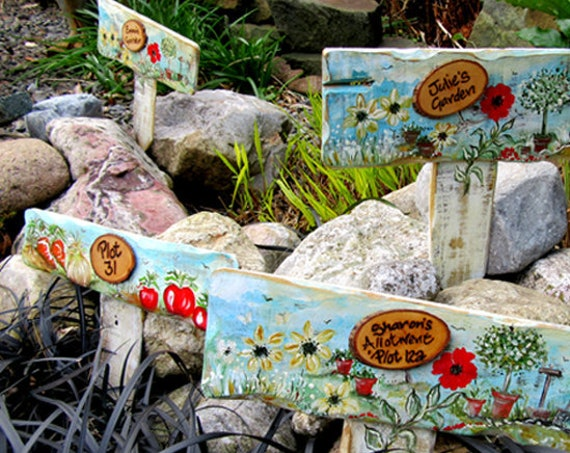 Allotment  Garden Gifts * Group of Signs * Personalised  PLOT Number Garden Allotment Sign * Hand painted  Custom made  Stake Sign