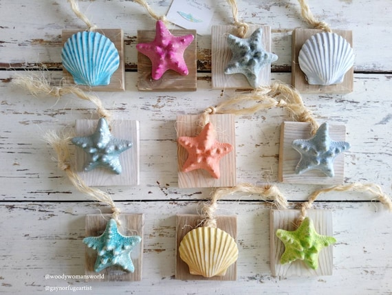 Shell and Starfish Plaque *  Beach Decor * Beach Hut Plaque * Wales