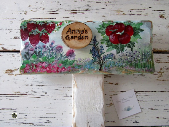 Wooden Sign * Allotment Garden Sign * Personalised  Sign *  Herb Sign* Origninal handpainting * Wales