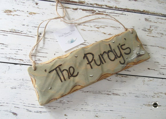 Personalised Sign * Family Sign * Family name sign * Driftwood Style * Illustrated Sign *