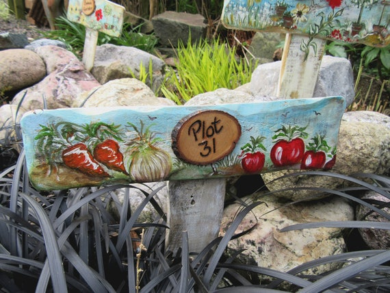 Allotment Gifts Garden Gifts WoodyWomansWorld Personalised  PLOT Number Garden Allotment Sign * Hand painted  Custom made  Stake Sign