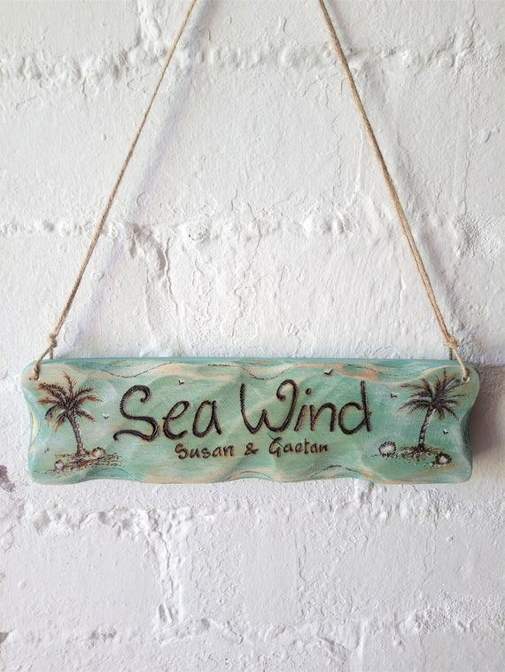 Personalised Sign * Beach House Sign * Beach Hut Sign * House Sign *  Driftwood Style * Illustrated Sign *