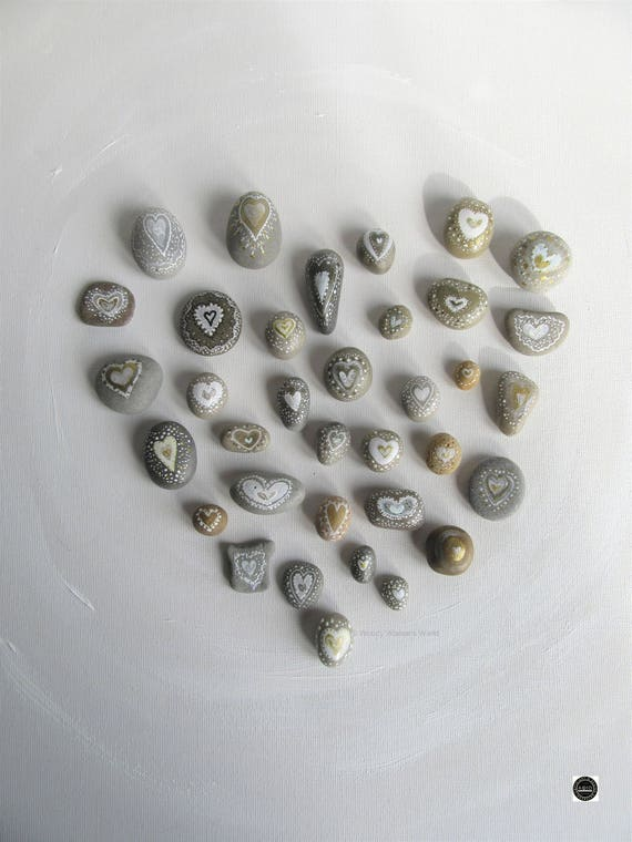 Pebbles * Hand Painted Pebbles * Pebble Art * Heart Paintings  *  Wedding Pebbles * original art * Favours * Free personalised hearts